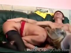 concupiscent lesbo grannies in underware take