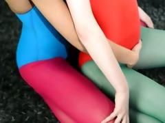 unshaved lesbians in nylon nylons loving