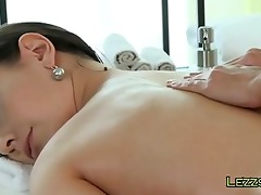 brunette hair and golden-haired massage jointly