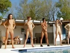 six exposed gals by the pool from usa