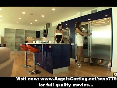 lesbo brunette chicks cooking and flashing love