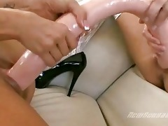 turned on lesbo hotties playing with massive sex