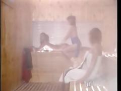 vintage porn - aerobic lesbian babes in sauna