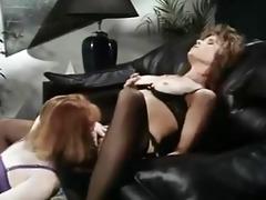 office lesbians in retro video scene