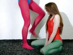 shaggy lesbos in nylon stocking loving