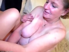 granny masturbate with youthful pair on the bed