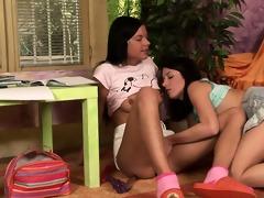 brunette hair legal age teenager lesbos monika