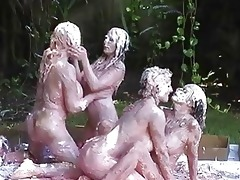 four slutty lesbos enjoying in juicy and immodest