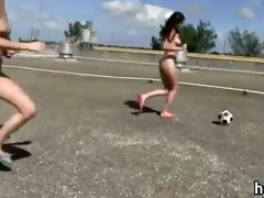 bunch of gals playing football and blowjob sex