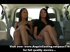 three outstanding lesbo hotties chatting and
