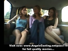 lesbo hotties and cute hitchhiker giving a kiss