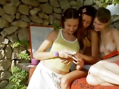 three russian legal age teenagers fingering wet