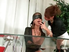 blindfolded lesbo acquires body overspread in