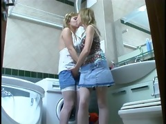 sisters have joy in the bathroom. )