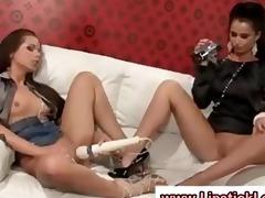 european lesbo women play with toys on their