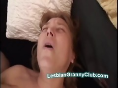 breasty aged lesbo uses large toy to fuck excited