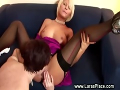 aged lady in nylons eats pussy