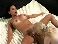 excited blonde and darksome-haired lesbo duet eat