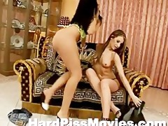 hot lesbo chicks licking and pissing