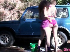 gals out west - bushy lesbo angels washing car