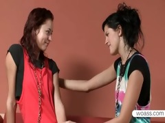lesbians natasha and mia sharing a double