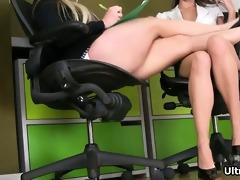 hawt honeys receive lewd rubbing their legs