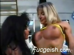 lustful weightlifters become lesbo doxies in the