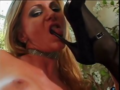 hot golden-haired and brunete lesbo toy fondle
