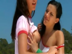 captivating lesbian workout on the roof