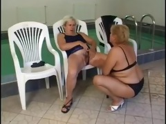 aged lesbos fuck by the pool