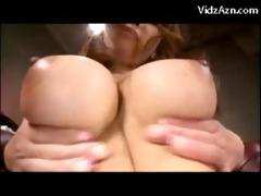 breasty gal in colorful underware having big o