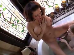 hardcore toy insertion in the bathtub