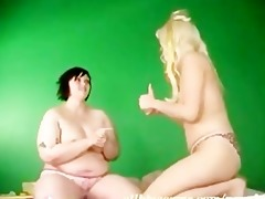 lesbo big beautiful woman and blonde model 9