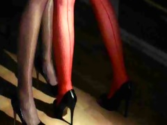unequalled lesbos in pantyhose using belt