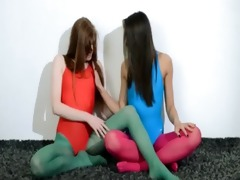 shaggy lesbian babes in nylon stocking loving