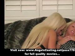 charming fascinating blond lesbo sweethearts with