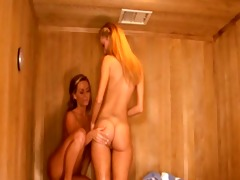 lesbo love tunnel licking in the enchanting sauna