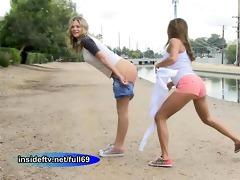 nasty lesbo women flashing their scoops and gazoo