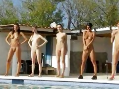 six nude nubiles by the pool from russian